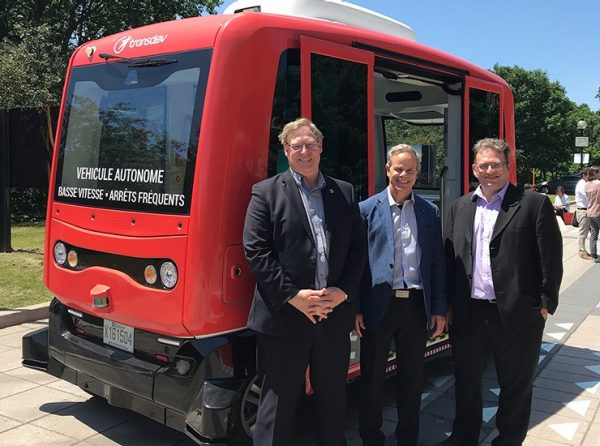 electric AV shuttle, Martin Thibault, Jacques Léonard, and Martin Chevrier
