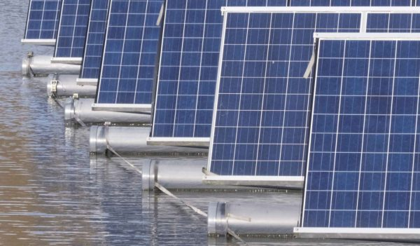 solar panels on water