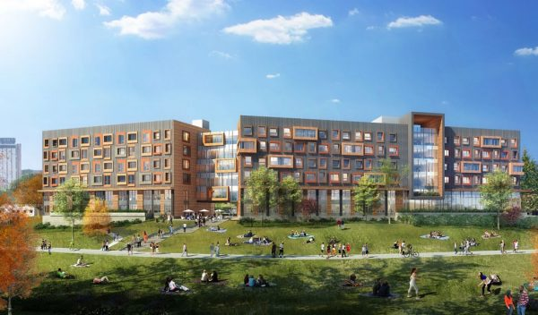 Rendering of new apartment complex with a park area and walking paths