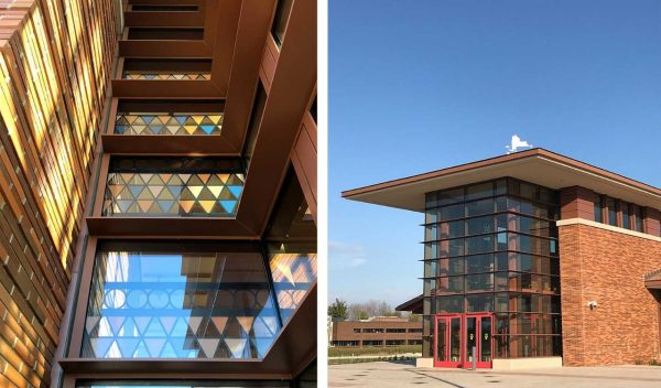 Images of the exterior with colored glass