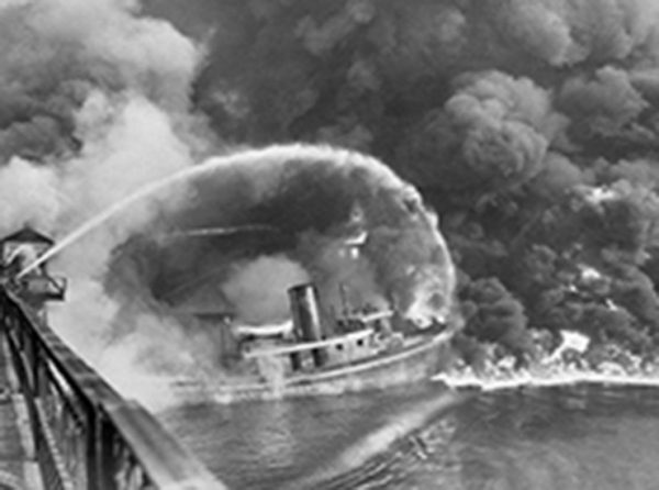 1969, the Cuyahoga River on fire