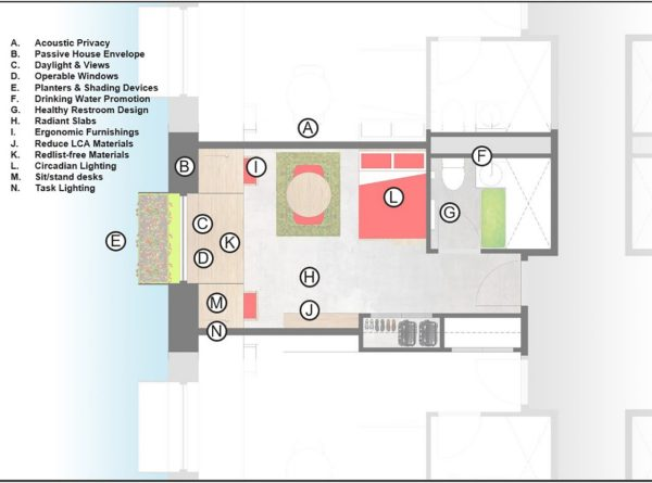Plan view of a typical student housing room