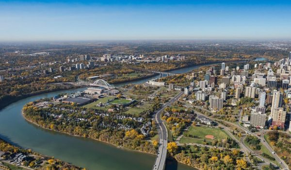 Aerial view of the river valley, bridges, downtown Edmonton, Alberta