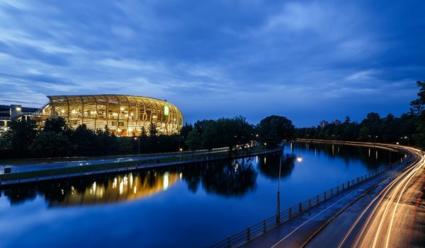 View of the stadium from across the Rideau canal at night