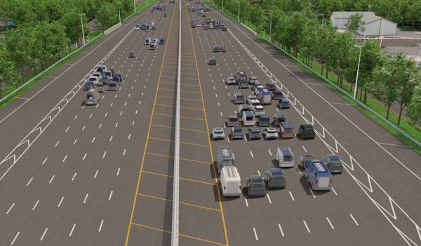 Rendering of AV cars on a roadway