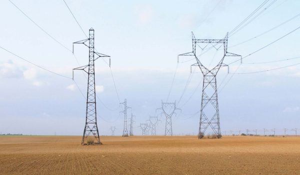 Transmission lines running through vast wheat field