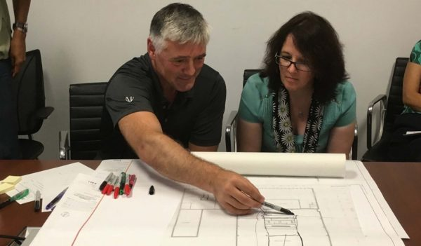 Dr. Bernhard Ganss, Vice Dean of Research at the University of Toronto's Faculty of Dentistry, and Dr. Celine Levesque, Associate Professor, consider planning for the new Faculty of Dentistry.