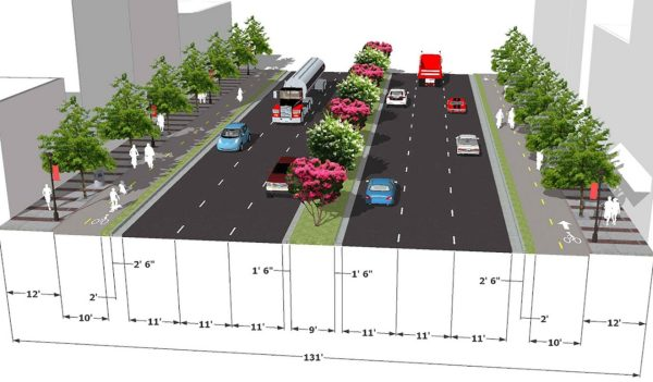 Rendering of bike lane planning
