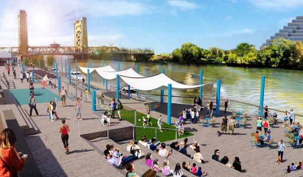 Rendering of the waterfront with people enjoying the space
