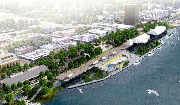 Aerial rendering of the overall development on the water