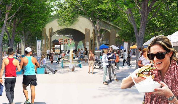Rendering of people enjoying the amenities
