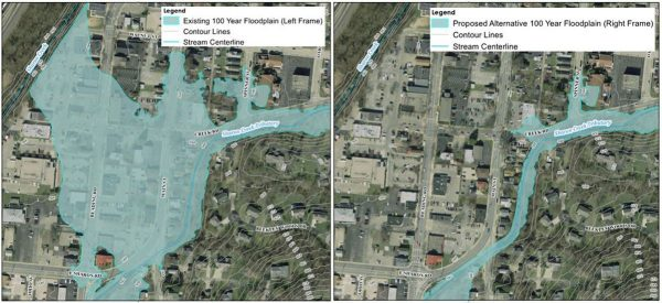 2 aerial images showing the risk of flooding