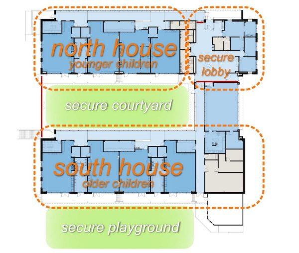 A floor plan showing zones in a child care facility