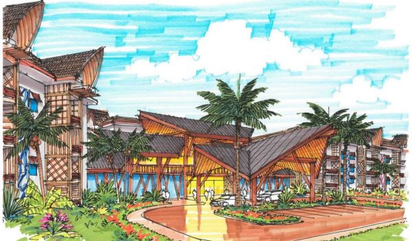 Colored sketch of resort exterior