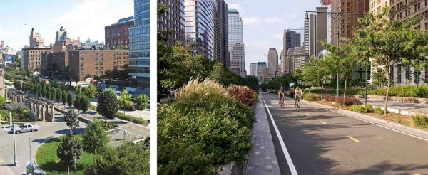 2 images of the boulevard with plantings and walk/cycle lanes