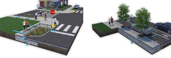2 views of a computer model showing a street with planting areas