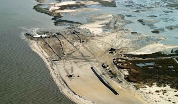 Overhead view of beach re-nourishment along the Delaware Bay at Prime Hook National Wildlife Refuge.