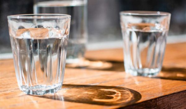 water glasses on bar