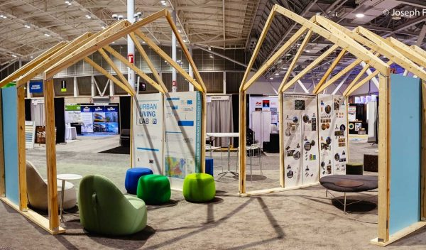 A prototype small living area at a trade show