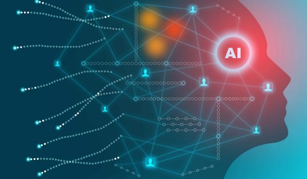 Artificial intelligence technology concept - Responsive web banner design with illustration of human face made by tiny glowing connections - digital network for AI