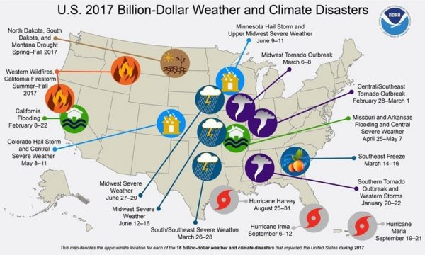 Map showing 2017 weather and climate disasters in the US