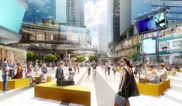 Design rendering of a public plaza at the ICE District in downtown Edmonton, Alberta.