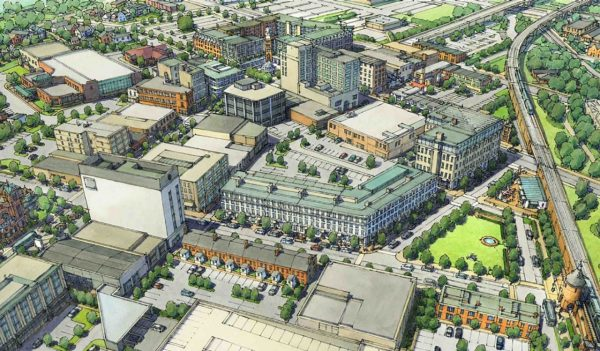 Rendering of downtown Hammond, Indiana revitalization