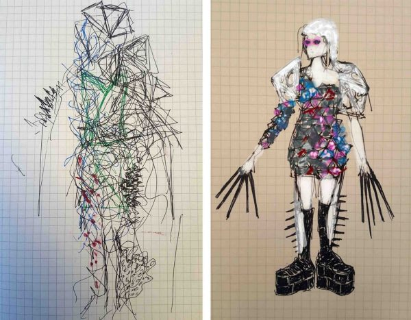 Initial and final concept sketches for a commercial interior wearables fashion concept.