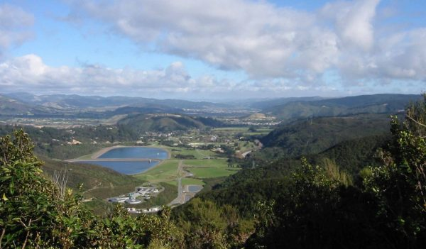 View looking down on the Macaskill storage lakes, part of the Wellington, New Zealand, water supply system.