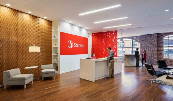 The Stantec Boston office reception area at 226 Causeway Street.