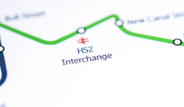 View of HS2 interchange marker on a simple map.