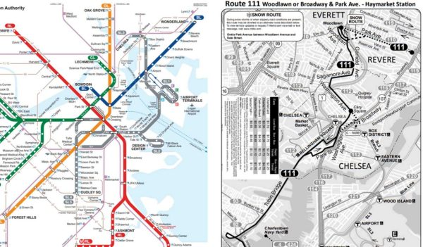 Clear transit wayfinding map on left, unclear bus map on right.