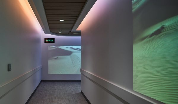 A corridor with wayfinding