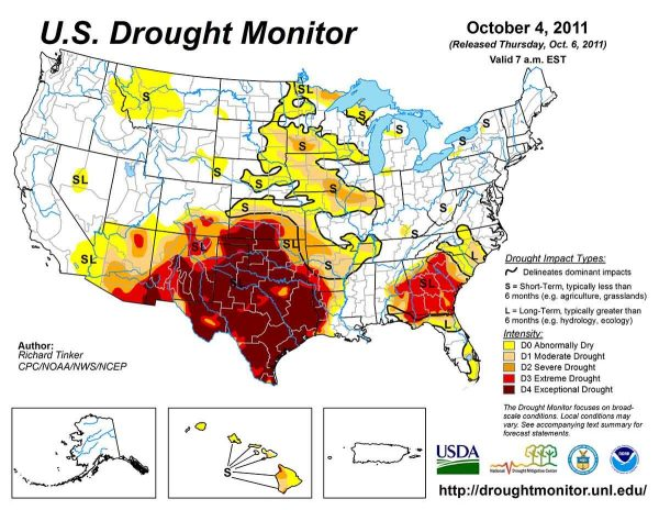 A US map showing drought areas
