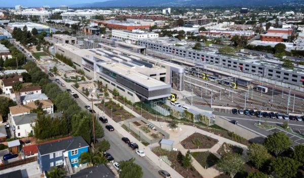 Overhead view of LA Metro Division 14 Expo Line Light Rail Operations & Maintenance Facility, Los Angeles, California.