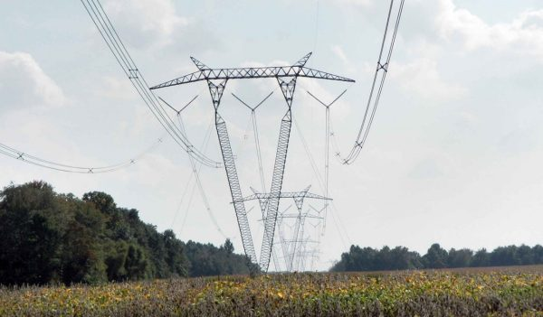 transmission lines in field
