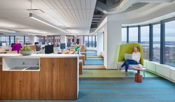 IHI's new space in Boston with various work areas that accommodate different work styles.