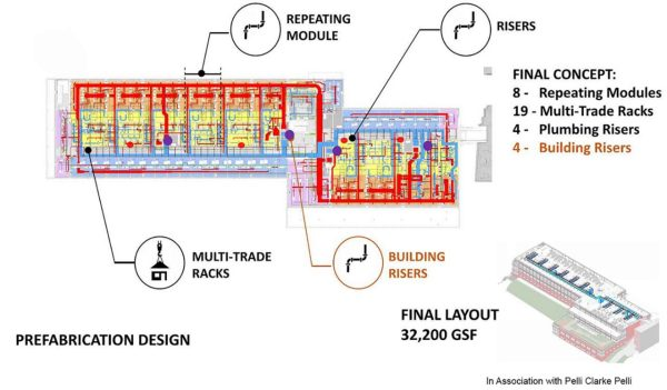 A breakdown of typical floor prefab concepts at the Yale Science Building.