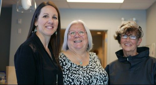 Denise Pothier posing with Elder Geri Musqua-LeBlanc (middle) and Harriet Burdett-Moulton.