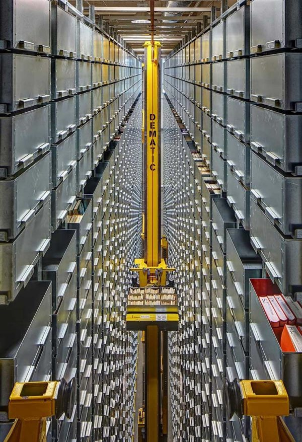 automated storage and retrieval system at Mary Idema Pew Librar