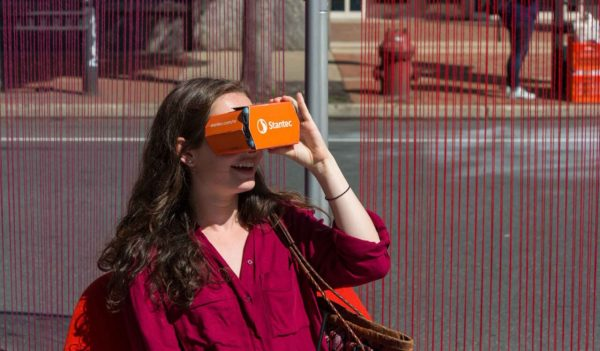 women viewing through Stantec VR glasses