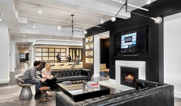 open area with fireplace at Gyro