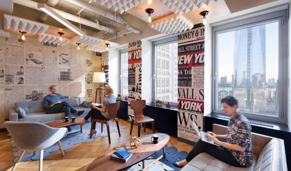 WeWork, newspaper wallpaper
