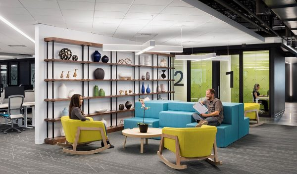 Open workplace with lounge seating