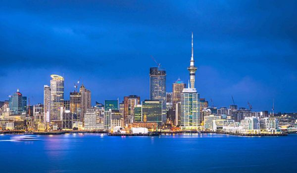 Auckland skyline at blue hour, Auckland, New Zealand