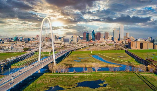 Dallas Texas TX Downtown Drone Skyline Aerial.