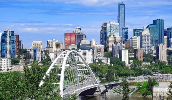 The Walterdale suspension bridge with downtown view in Edmonton, Alberta, Canada