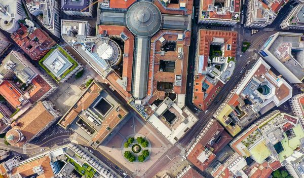 Milan, Italy. Gallery of Victor Emanuel II 1865-1877 year of construction. Roofs of the city aerial view, Aerial View, HEAD OVER SHOT