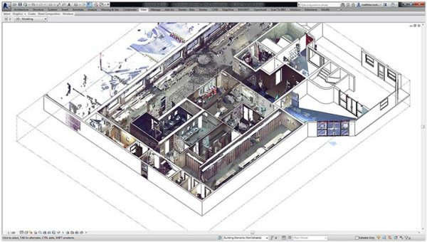 Point cloud model layered on top of the Revit model.