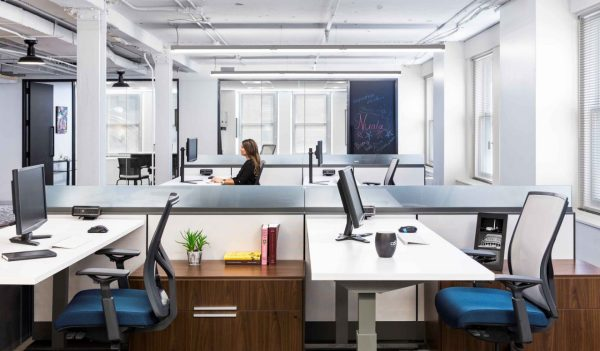 single person in open office space